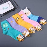 Anime Adventure Time Sock Women Cartoon Cute Socks Ice King Lumpy Space Princess Fun Autumn Winter Yellow Cotton Sock Calcetines