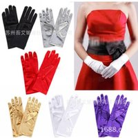 Bridal Gloves Short Finger Women Solid Satin Evening Party Dressing Prom 14 Color Plain Dyed Glove For Wedding LT063
