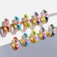 Hoop Huggie Vintage Multicolour Emaille Kleine Ohrringe für Frauen Mode Geometrische Rundkreis Blume Schmuck Mädchen Geschenke