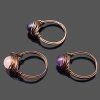 Women Rings Wire Wrap Natural Stone Beads Rose Quartz Agate Crystal Beads Handmade DIY Retro Jewelry