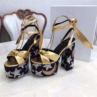 Designer Luxury Ladies Bianca Black Gold Jacquard Fabric Farrah 80 Platform Sandal Ankle Strap Sandals Heel Platform Sandal Slippers With Box
