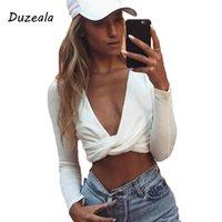 Duzeala Kadınlar Derin V Boyun Uzun Kollu Ince Kırpma Seksi Düğüm Serin Bluz Gömlek Sonbahar Beyaz Siyah Blusas Çapraz Bandaj Üst Kadın Bluzlar Sh