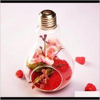 Vazolar 10 adet Cam Ampul Lamba Şekli Çiçek Su Bitki Asılı Vazo Konteyner Ev Kapalı Ofis Düğün Dekoru Halat I6byb CU0A8