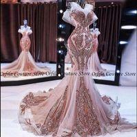 2021 Вечерние платья 2021 Свечи, блестные розовые розовые розовые Vestidos выпускной платья кружев на спине.
