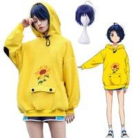 Anime Wonder Egg Priority Ohto Ai 의상 코스프레 까마귀 노란색 스웨터 루스 스타일 Unisex 캐주얼 풀오버 가발 할로윈 파티