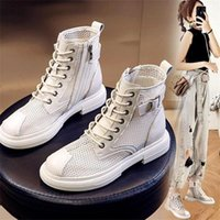 Hollow Out Mesh Summer Ankle Boots For Women Breathable Zipper Lace Up Casual Shoes Woman Low Heels Short Booties White