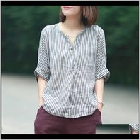 & Womens Clothing Apparel Drop Delivery 2021 Johnature Women Striped Shirts Summer Batwing Sleeve Casual Blouses Linen Japanese Blouse Loose