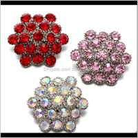 Charm Bracelets Jewelry3 Color Flower Shape Rhinestone Style Metal Charms 18Mm Button For Snap Bracelet Snaps Jewelry Kz0602 Drop Delivery 20