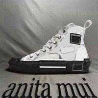 En Kaliteli B23 19SS B24 Luxurys Tasarımcılar Rahat Ayakkabılar Yüksek Düşük Sneakers Mens Womens Eğik Baskı Teknik Deri Klasik Spor 22