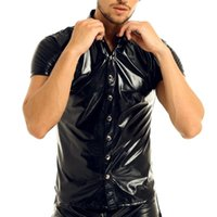 Mens Metallic T Shirt Sexy Clubwear Uomo in vernice in pelle verniciata maniche corte Shirt Shirt shirt maglietta lucida Top T-shirt da uomo