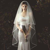 2T Свадебная вуаль короткими из тюль ленты кромки свадебные вуалии двух слоя слоновая кость белые невесты вуалии X0726