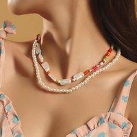 PCS / 세트 해변 스타일 여성 패션 여러 가지 빛깔의 유리 페르시 체인 목걸이 숙녀 Baroque 스퀘어 펄 chokers 목걸이 선물