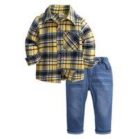 Дети для мальчиков Одежда для одежды Хлопчатобумажная детская клетчатая рубашка + джинсы весна осень детей мальчики устанавливают детей одежда 642 y2