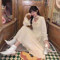 Französische Fairy Kleid Herbst Japanisches weiches Mädchen Nette Bogen Rührled Missy Retro Victorian Mittelalterliche Prinzessin 210517