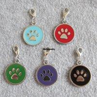 ZC Circle PAW Design Allay de zinc Aleación de mascotas Etiquetas de identificación para perros colgantes para perros pequeños Gatos P
