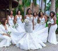 Plus Size Mermaid Bridal Gowns Spaghetti Lace Appliqued Pearls Beads Wedding Dresses Country Beach Robe de mariée Custom Made