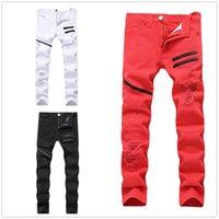Мужские плюс размер брюки джинсы мужчина разорвал дыра прямой дизайнер джинсовые с контрастным цветом мода повседневная молния мужские тонкие брюки черные белые красные три цвета