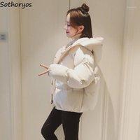 Short Parkas Mulheres Inverno Com Capuz Sólidos Baiacu-Coats Ulzzang Espessura Das Mulheres Outwear Pockets Simples estilo coreano moderno Chic1