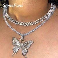 Chains Stonefans Rhinestone Tennis Butterfly Necklace Charm Choker For Women Iced Out Cuban Link Chain Pendant