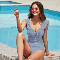 Swimwear sexy Donne retrò con scollo a V con scollo a strisce Blue Swimsuit One Piece Ruffled Push Up Swimwear Swimwear Women in stile Monokini Beach Wear.