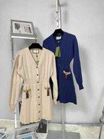 21SS Sweater Fashion Robe Midi Femmes Laine Robes en tricot de laine Soirée Porter Casual Cardigan Cardigan Cciggu Marque V-Coula Col V