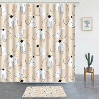 Shower Curtains Elephant Printing Set Bath Mats Cartoon Animals Bathroom Screen Entrance Door Mat Child Room Decor Non-slip Rugs