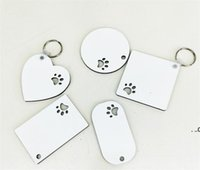 Wooden Sublimation Blank Keychain Pendant Double Sided Heat Transfer Pet Keychains Bag Decoration DIY Gift FWF8828