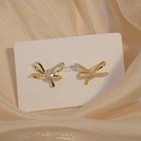 الذهب الحقيقي مطلي bowknot مسمار القرط الفاخرة ساطع رائعة مايكرو مطعمة الزركون أقراط للنساء مجوهرات الزفاف