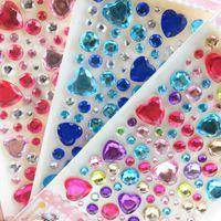 파티 장식 1pcs DIY 3D 아크릴 크리스탈 웨딩 라인 석 스티커 다이아몬드 반짝이 보석 자기 접착 스티커 수제 홈 장식 8
