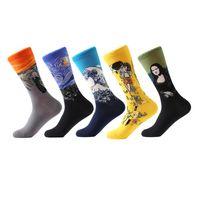 LETSBUY 5 pair lot Men's Painting socks cotton Retro Oil Painting socks crew funny casual dress colorful wedding gift socks