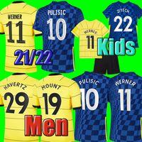 # 10 Pulisic # 7 Kante Home Blue Soserys 2021/2022 Kurzarm weg gelb # 11 Werner # 19 Mount Soccer Shirts 21/22 Angeschnittene # 29 Havertz Fußballuniformen