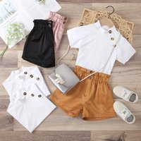 Clothing Sets 2Pcs Toddler SummerOutfit Girls Solid Color Buttons Short Sleeves Tops + Elastic Waist Shorts 1-6 Years 3 Colors