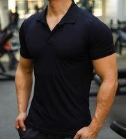 남자 스포츠 훈련 아이스 실크 여름 폴로 티셔츠 짧은 소매 남성 캐주얼 빠른 건조 체육관 휘트니스 슬림 티셔츠 의류