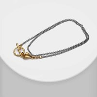 Amorita boutique Fashion matching color gold plating Circle locker long chain double layer necklace G0913