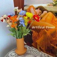 Decorative Flowers & Wreaths Retro Artificial Rhoeas Vintage Bride Holding Flower Home Wedding Decoration Accessories Corn Poppy Fak