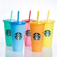 Starbucks 24oz / 710ml 플라스틱 머그컵 텀블러 인어 여신 색 변경 재사용 가능한 명확한 마시는 평평한 바닥 기둥 모양 뚜껑 짚 컵 머그잔