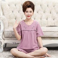 Women's Vests Mother's Pajamas Summer Cotton Short Sleeve Capris Middle Aged Thin Home Clothes Spring And Autumn Suit For The