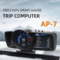 Camcorders AP-7 OBD2 + GPS Universal HUD Auto Dashboard Head-Up Display Rotatable Bracket Car Odometer Gauge Warning Security Alarm System