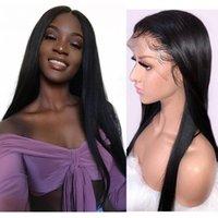 MUESTRA MODERNA PELO HUMANO 13 por 4 Pelucas de cabello humano del frente de encaje recto de seda con peluca natural Pelucas de encaje malasi