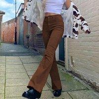 Kadın Kot Rahat Katı Renk Y2K Flared Kadınlar Moda Streç Yüksek Bel Slim Fit Vintage Harajuku