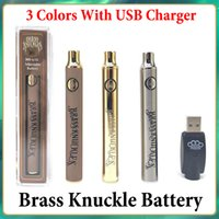 Brass Knuckles Battery Preheating Variable Voltage 650mAh 900mAh E Cig Pen For 510 Thraed Thick Oil Cartridge Vs Vision Spinner Law Vertex Ego