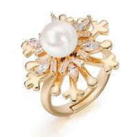 Anéis de casamento Hawson ajustado floco de neve dedo moda rotatable inlay zircon ringsmother de pérola jóias
