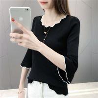 Women's T-Shirt Ice Silk Undergarment Knitting Trumpet Sleeve Half Seven Point Short 2021 Spring And Autumn