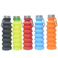 500ML Portable Retractable Silicone Bottle Creative Folding Water Bottles Outdoor Cycling Travel Drinking Cup Carabiner Collapsible Cups ZXFHP0829