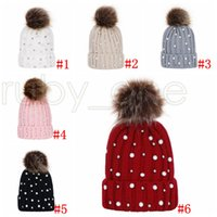 Girls Knitted Pompon Hats Children Pearl Crochet Knitting Wool Winter Toddler Kids Caps Fashion Pompon Ski Warm Party Hat RRA4422