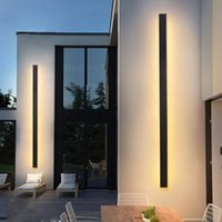 Outdoor Wall Lamps Modern Minimalist Led Lamp For Bedroom Living Room Sofa Background Long Strip Black White Gold Sconce Light Indoor Fixtur