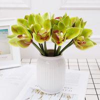 Fleur artificielle 3D-imprimée 6 têtes de bouquet de cymbidium Bouquet de palmier décoratif papillon orchidée orchidée fleurs fond