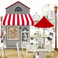 Wallpapers Drop Po Wallpaper Custom Hand Painted Coffee House Landscape Restaurant Cafe Mural Children Room