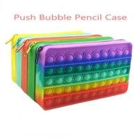 Amerikaanse voorraad Fidget Speelgoed Potlood Case Kleurrijke Push Bubble Sensory Squishy Stress Reliever Autisme Behoeft Anti-Stress Rainbow Volwassen speelgoed voor kinderen School CX22