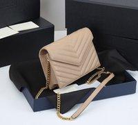 حقائب الكتف مصمم حمل حقيبة حقائب نسائية سلسلة ذهبية عالية الجودة جلد طبيعي حقيبة يد ماركة أزياء فاخرة مع مربع الأصلي حجم 20 6 17 سم
